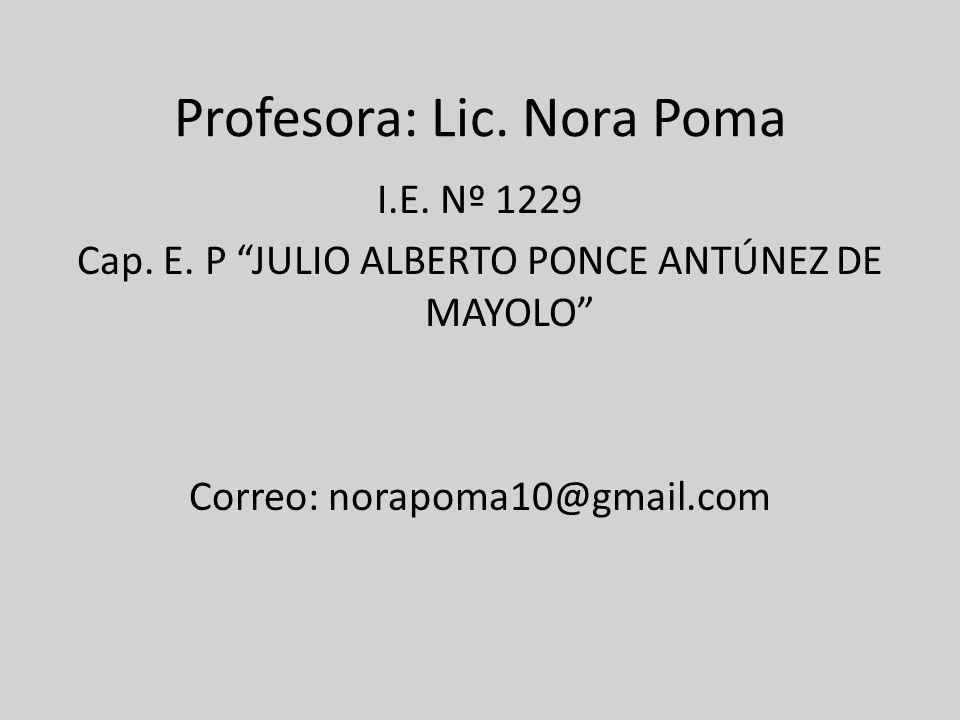 Profesora: Lic. Nora Poma