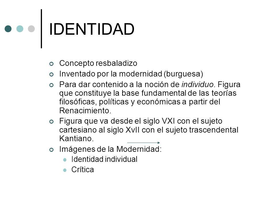 IDENTIDAD Concepto resbaladizo Inventado por la modernidad (burguesa)