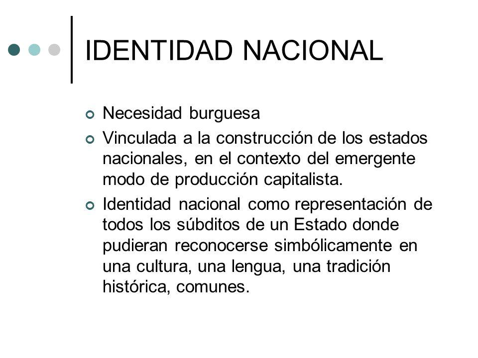 IDENTIDAD NACIONAL Necesidad burguesa