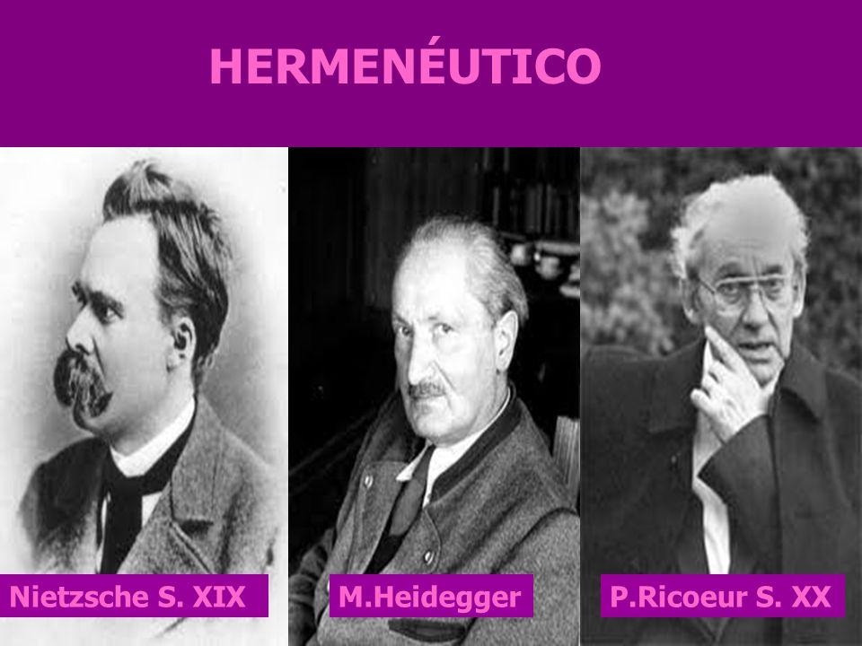 HERMENÉUTICO Nietzsche S. XIX M.Heidegger P.Ricoeur S. XX