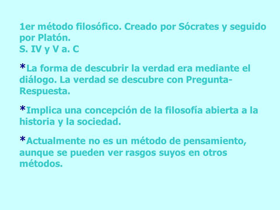 1er método filosófico. Creado por Sócrates y seguido por Platón.