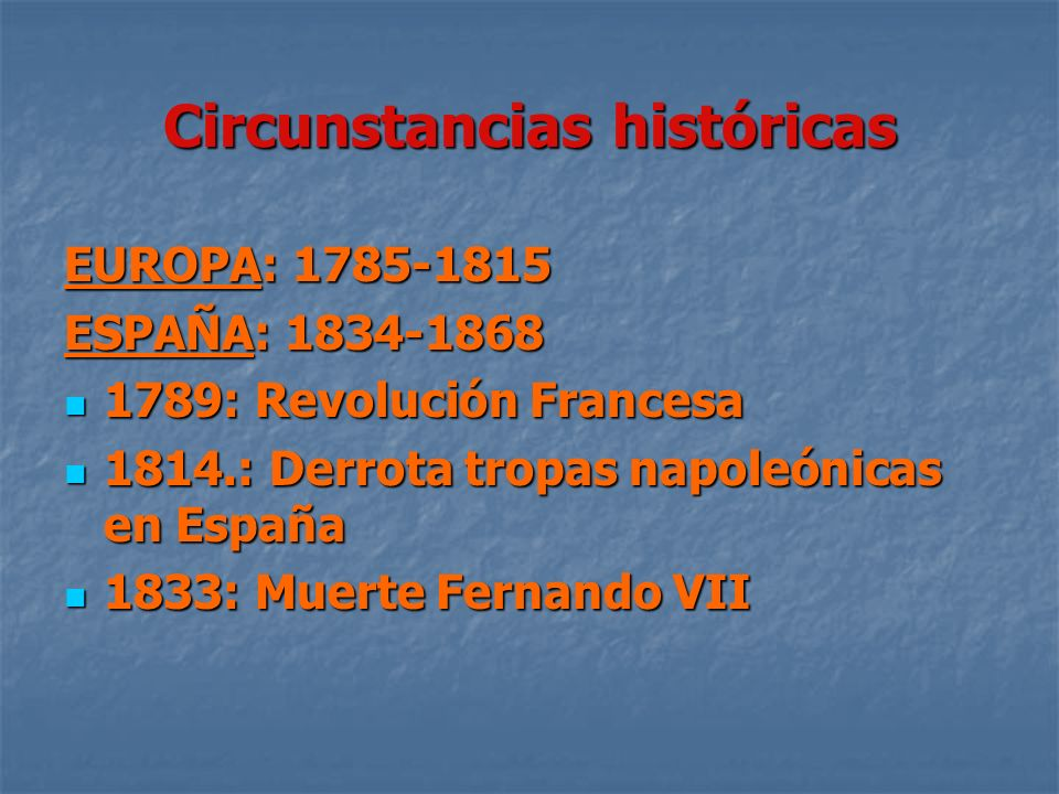 Circunstancias históricas