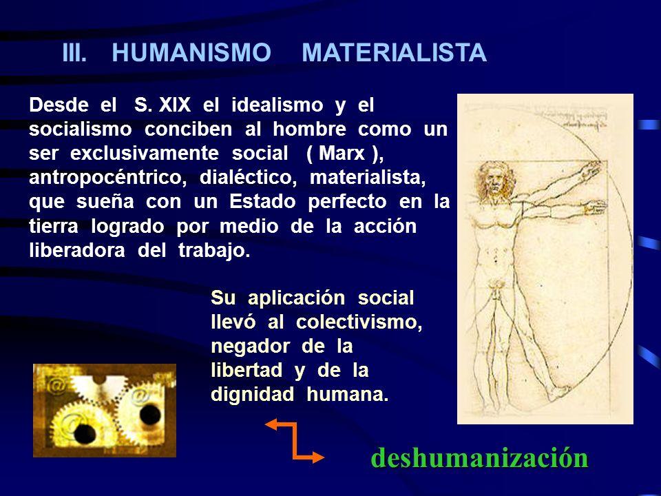 deshumanización III. HUMANISMO MATERIALISTA
