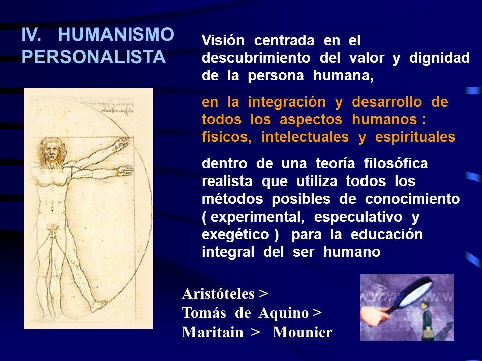 IV. HUMANISMO PERSONALISTA