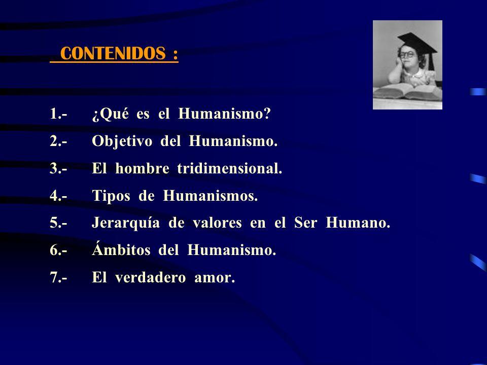 CONTENIDOS : 1.- ¿Qué es el Humanismo 2.- Objetivo del Humanismo. 3.- El hombre tridimensional.