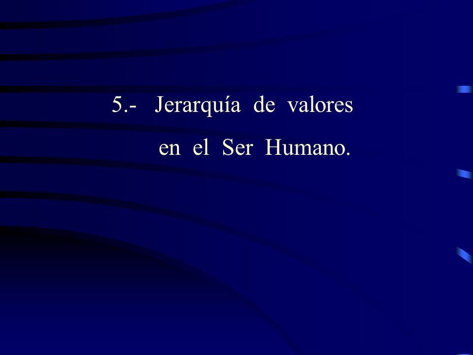 5.- Jerarquía de valores en el Ser Humano.