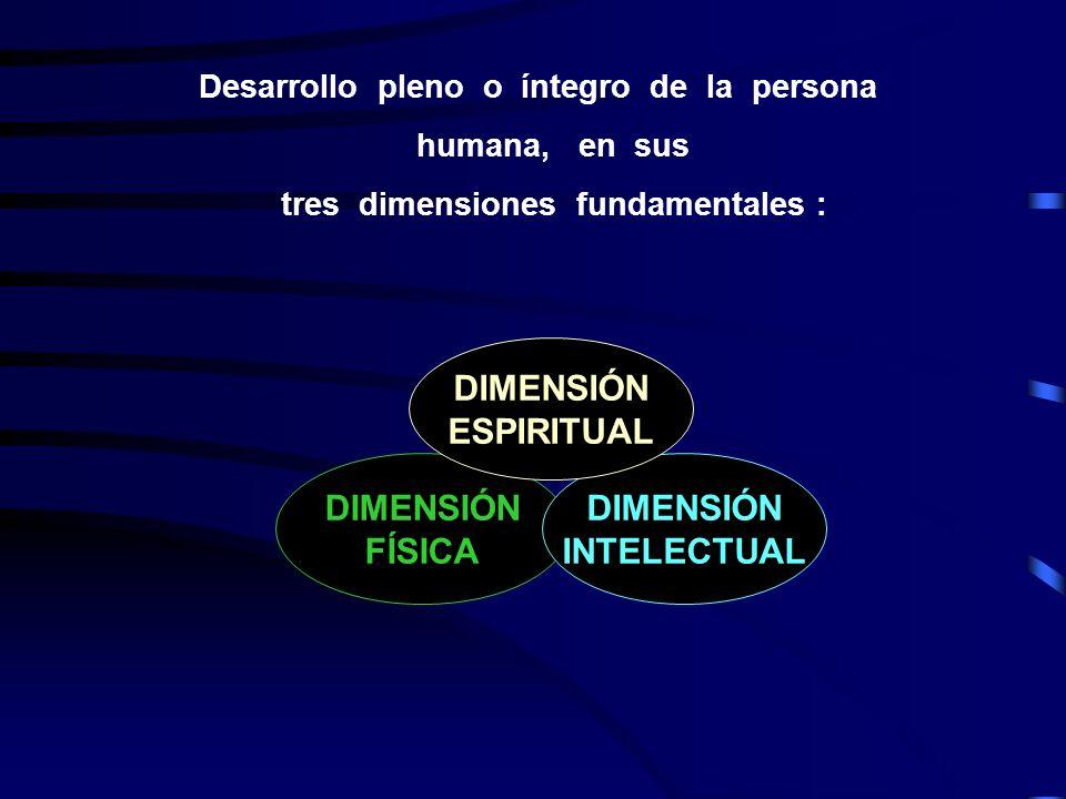 DIMENSIÓN ESPIRITUAL DIMENSIÓN FÍSICA DIMENSIÓN INTELECTUAL