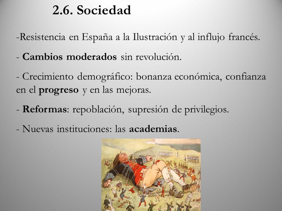 2.6. Sociedad Resistencia en España a la Ilustración y al influjo francés. Cambios moderados sin revolución.