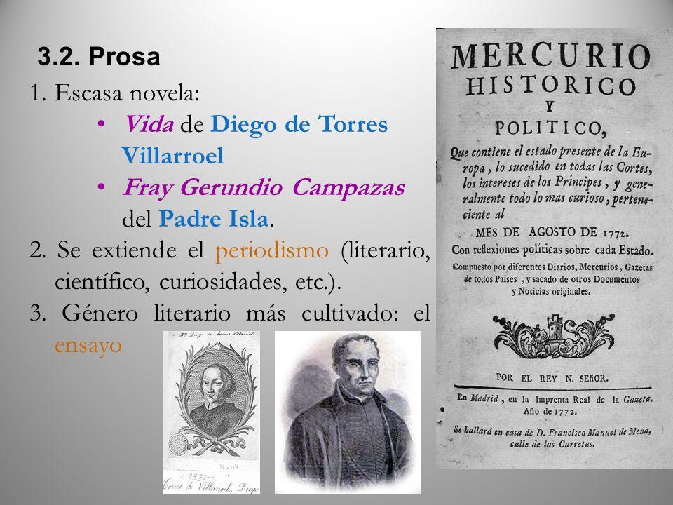 3.2. Prosa Escasa novela: Vida de Diego de Torres Villarroel. Fray Gerundio Campazas del Padre Isla.