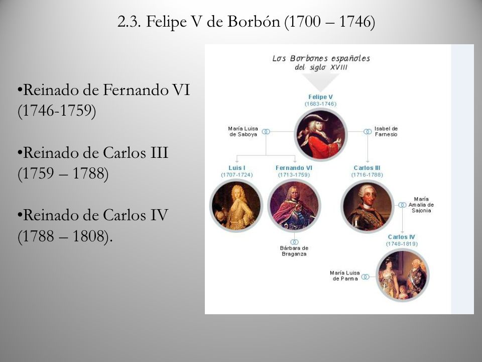 2.3. Felipe V de Borbón (1700 – 1746)Reinado de Fernando VI (1746-1759) Reinado de Carlos III (1759 – 1788)