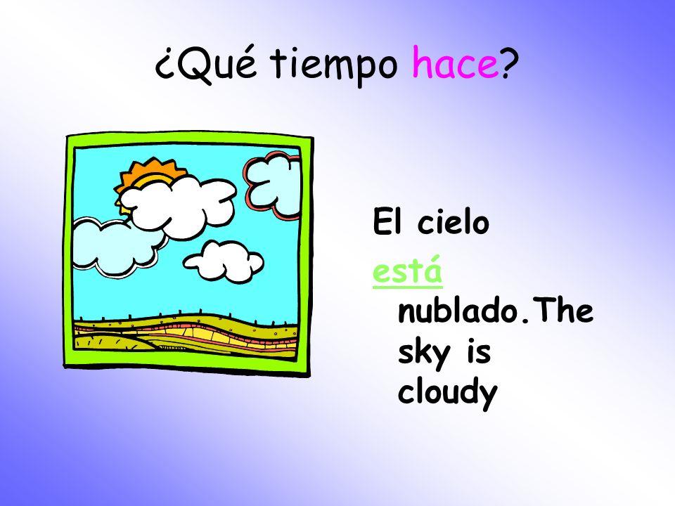 ¿Qué tiempo hace El cielo está nublado.The sky is cloudy