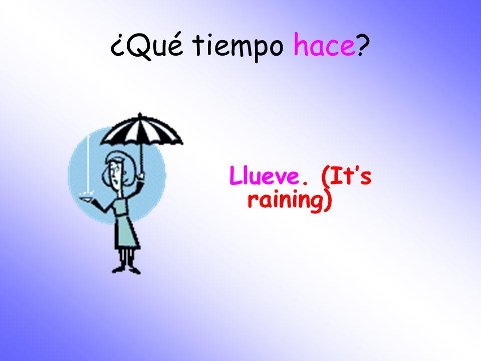 ¿Qué tiempo hace Llueve. (It's raining)