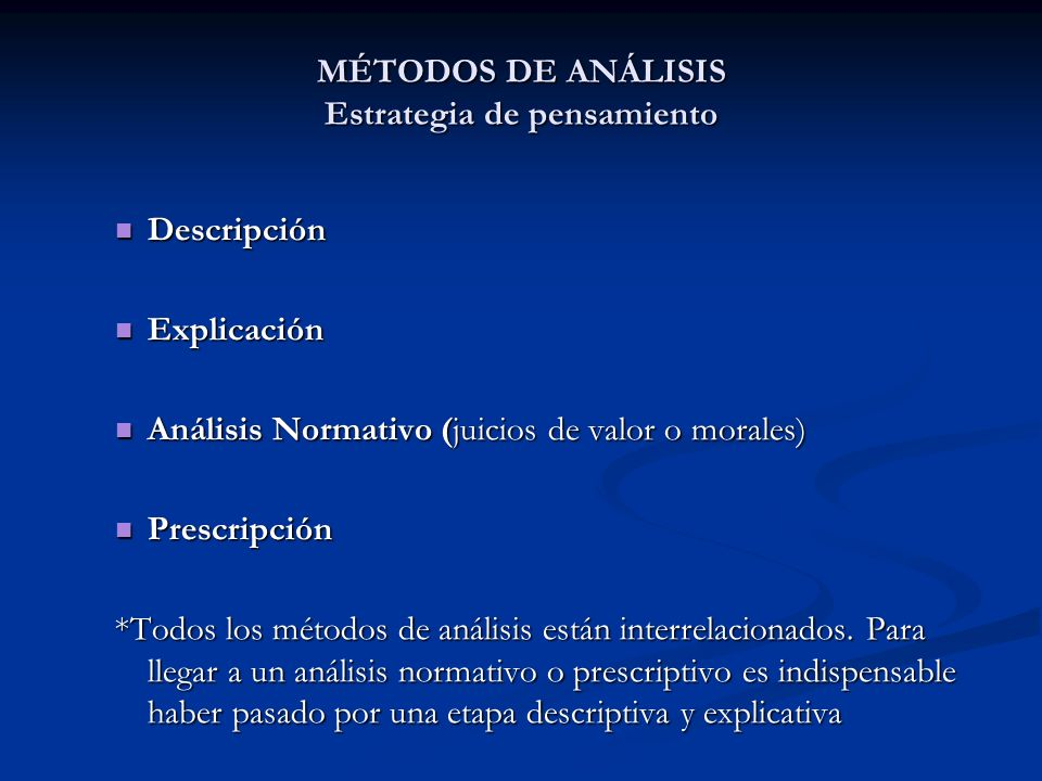 MÉTODOS DE ANÁLISIS Estrategia de pensamiento