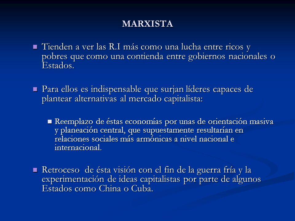 MARXISTATienden a ver las R.I más como una lucha entre ricos y pobres que como una contienda entre gobiernos nacionales o Estados.