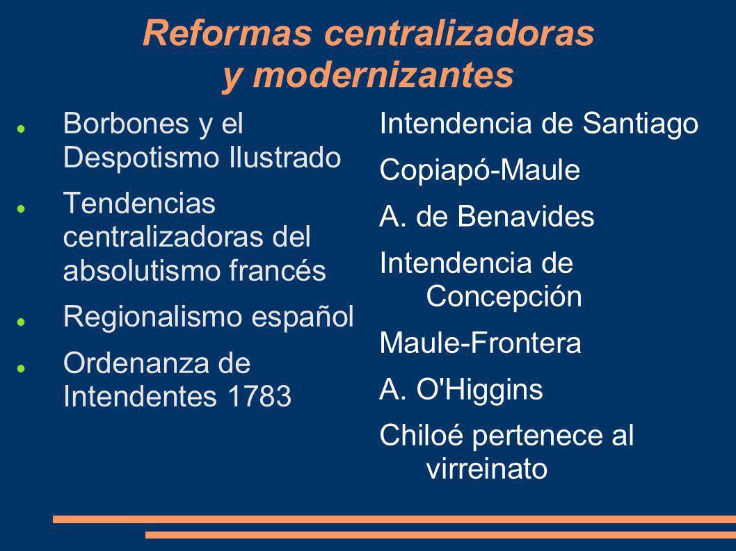 Reformas centralizadoras y modernizantes