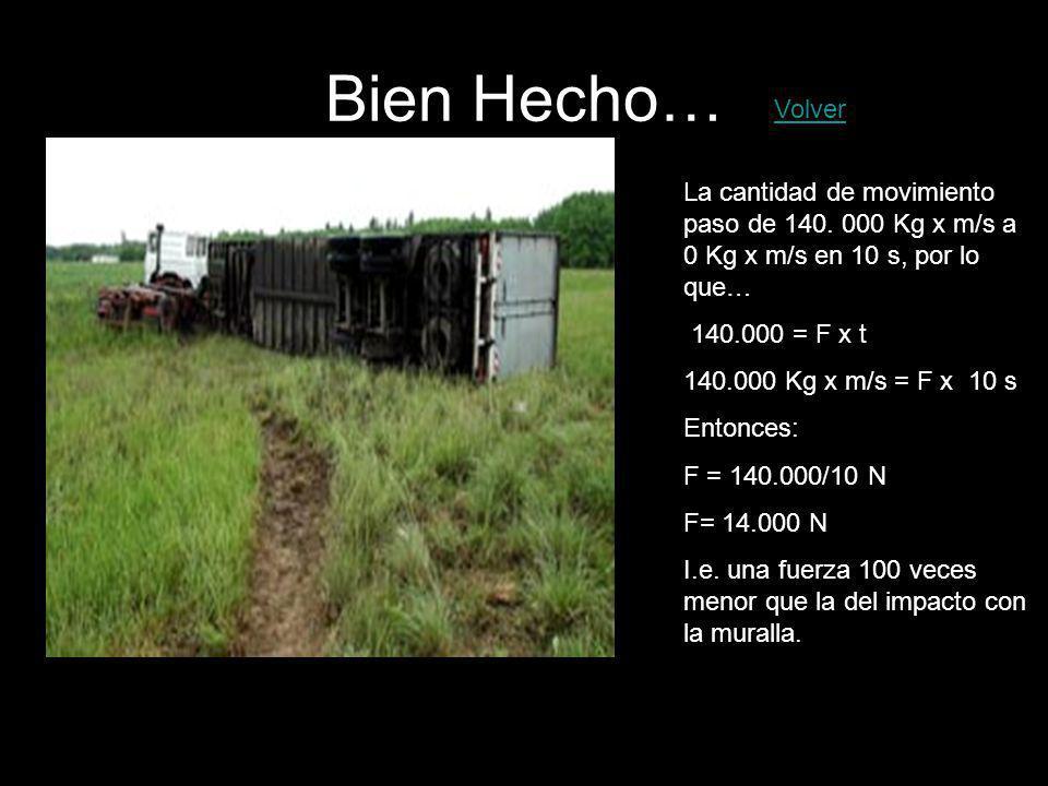 Bien Hecho… Volver. La cantidad de movimiento paso de 140. 000 Kg x m/s a 0 Kg x m/s en 10 s, por lo que…