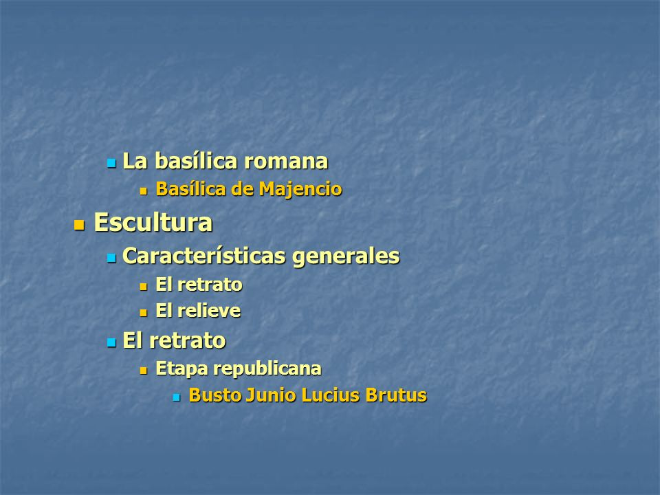 Escultura La basílica romana Características generales