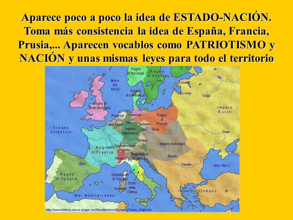 Aparece poco a poco la idea de ESTADO-NACIÓN