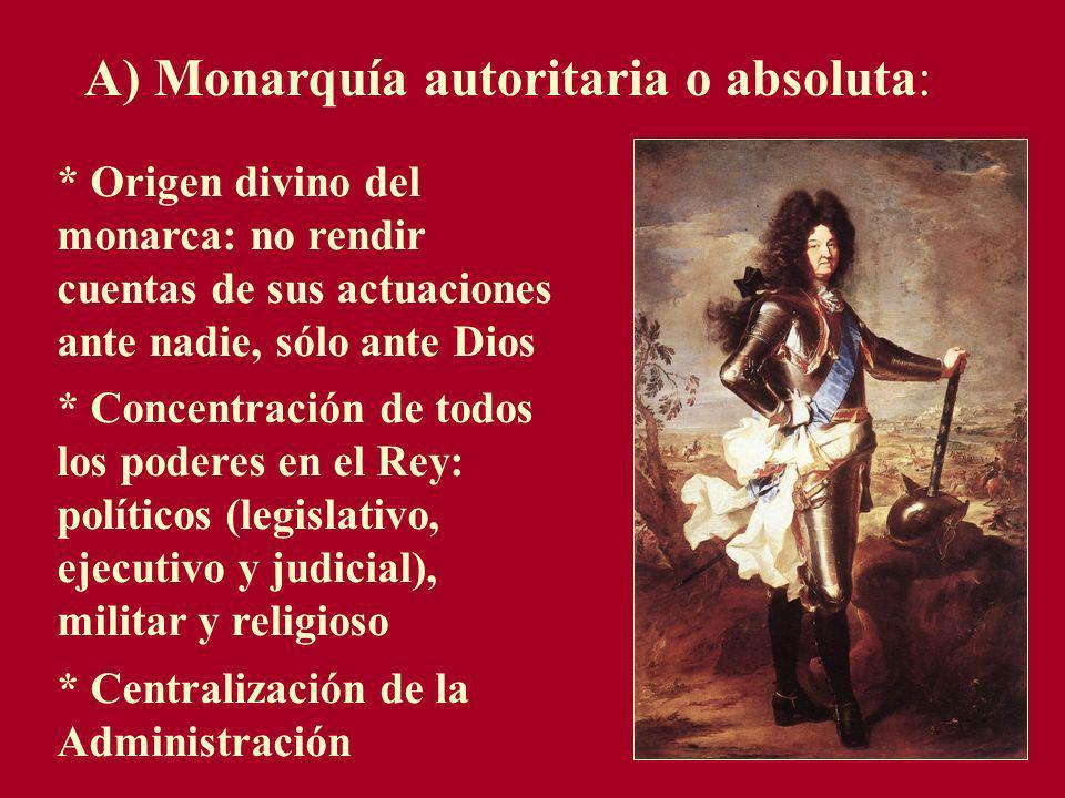 A) Monarquía autoritaria o absoluta: