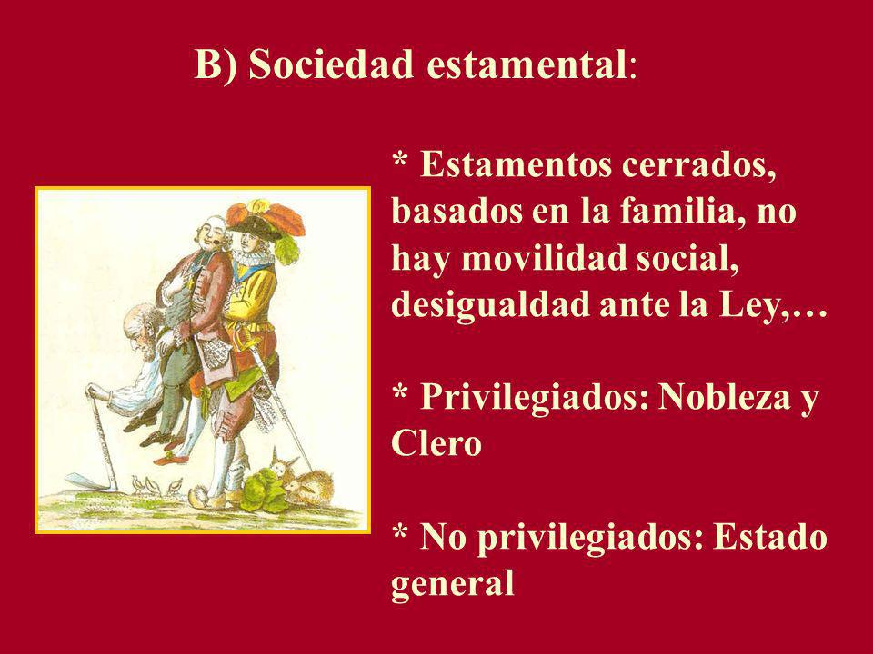 B) Sociedad estamental: