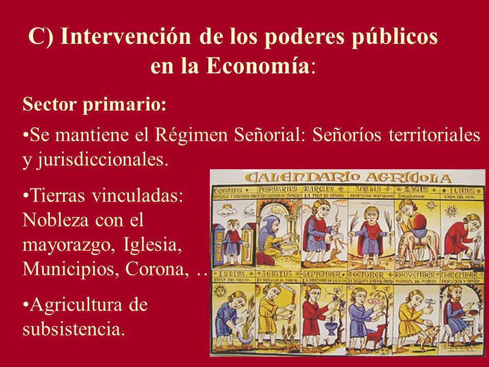 C) Intervención de los poderes públicos en la Economía: