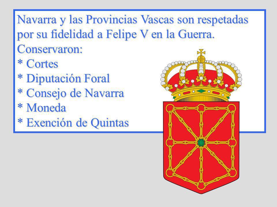 Navarra y las Provincias Vascas son respetadas por su fidelidad a Felipe V en la Guerra. Conservaron: