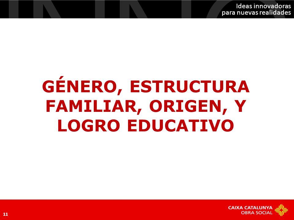 GÉNERO, ESTRUCTURA FAMILIAR, ORIGEN, Y LOGRO EDUCATIVO
