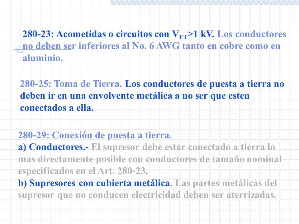 280-23: Acometidas o circuitos con VFT>1 kV