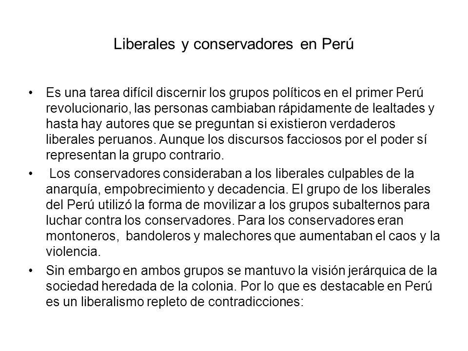 Liberales y conservadores en Perú