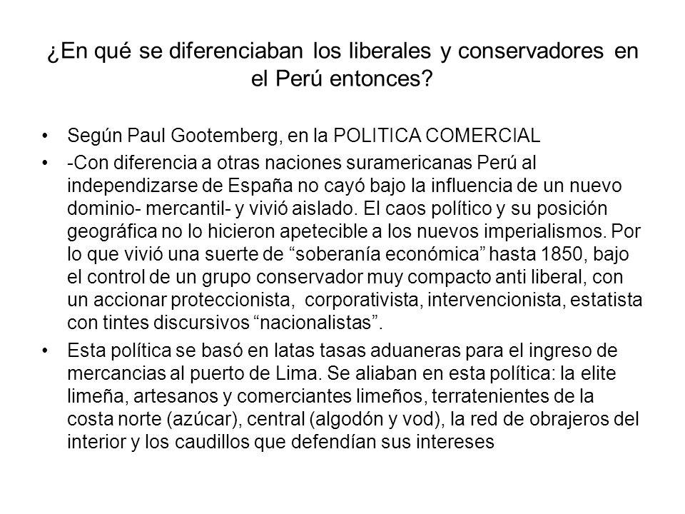 ¿En qué se diferenciaban los liberales y conservadores en el Perú entonces