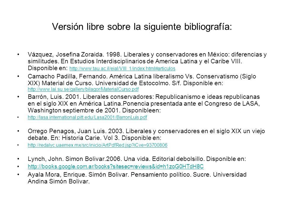 Versión libre sobre la siguiente bibliografía: