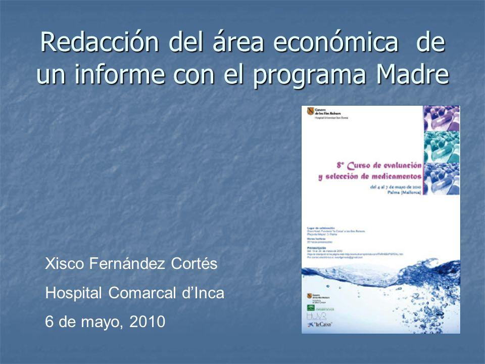 Redacción del área económica de un informe con el programa Madre