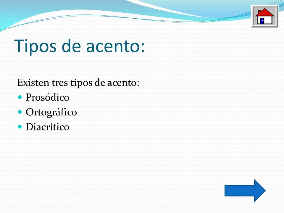Tipos de acento: Existen tres tipos de acento: Prosódico Ortográfico