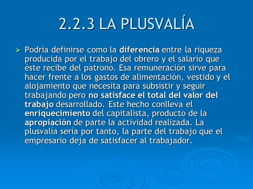 2.2.3 LA PLUSVALÍA