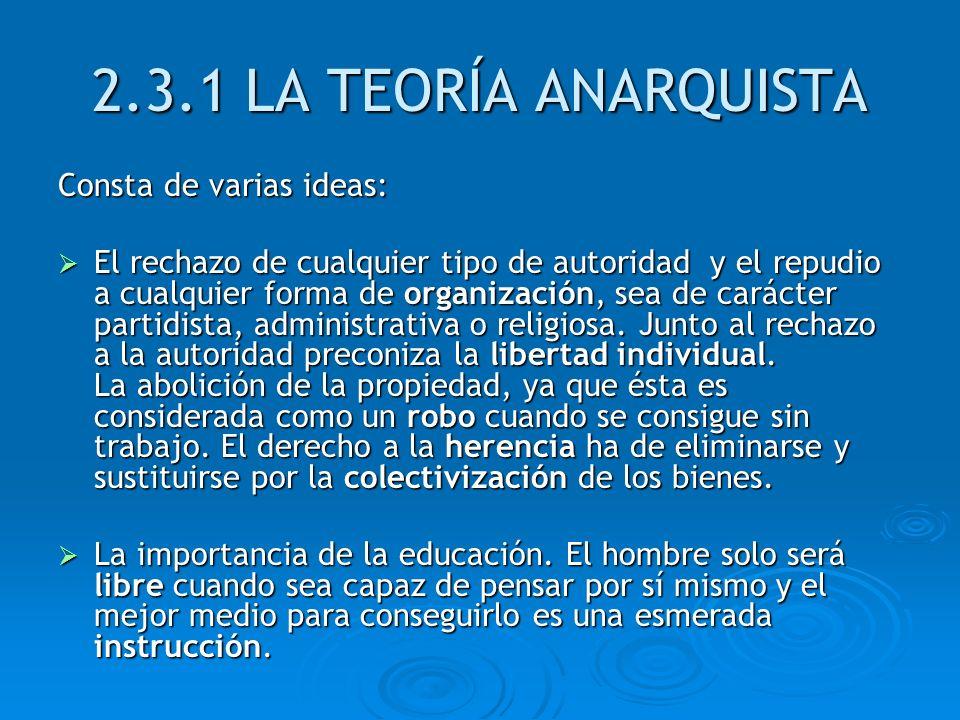 2.3.1 LA TEORÍA ANARQUISTA Consta de varias ideas: