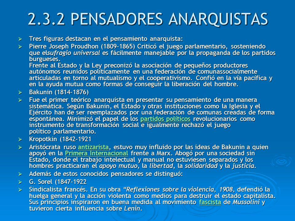 2.3.2 PENSADORES ANARQUISTAS