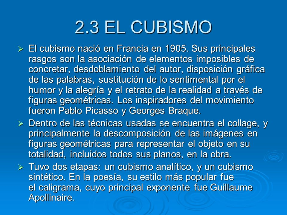 2.3 EL CUBISMO