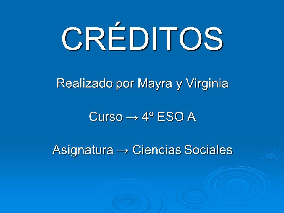 CRÉDITOS Realizado por Mayra y Virginia Curso → 4º ESO A