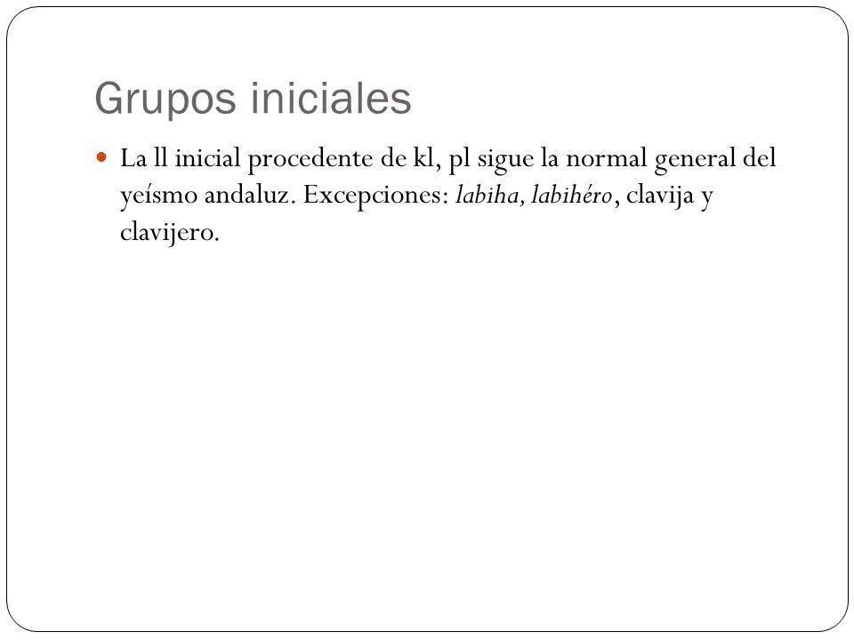 Grupos iniciales La ll inicial procedente de kl, pl sigue la normal general del yeísmo andaluz.