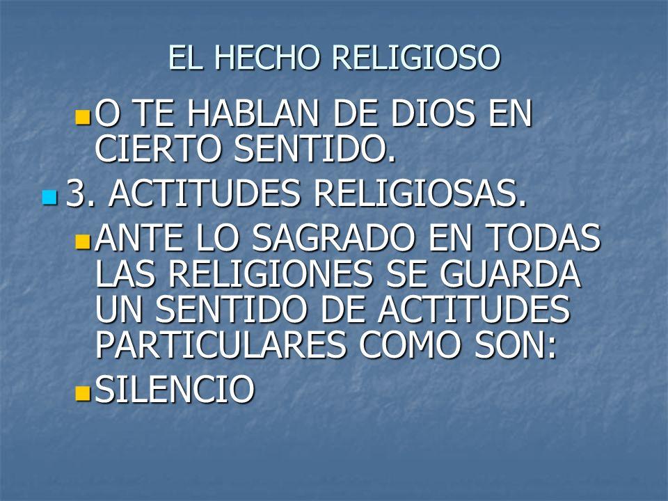 O TE HABLAN DE DIOS EN CIERTO SENTIDO. 3. ACTITUDES RELIGIOSAS.