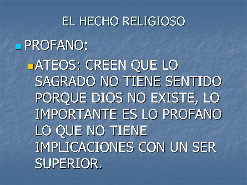 EL HECHO RELIGIOSO PROFANO: