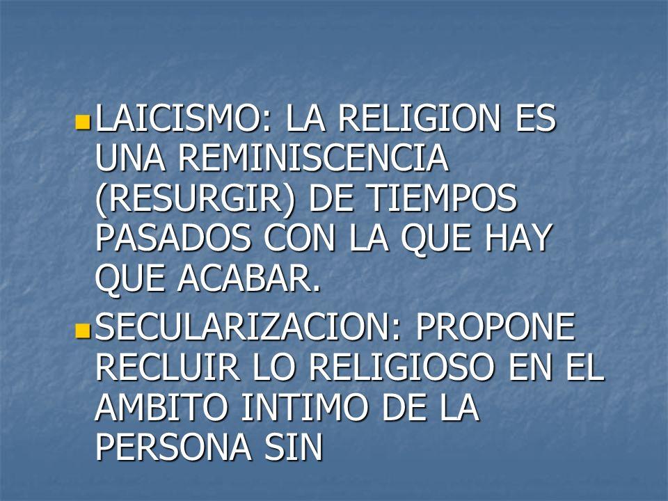 LAICISMO: LA RELIGION ES UNA REMINISCENCIA (RESURGIR) DE TIEMPOS PASADOS CON LA QUE HAY QUE ACABAR.