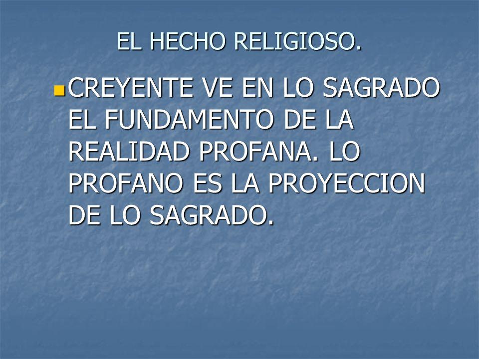 EL HECHO RELIGIOSO. CREYENTE VE EN LO SAGRADO EL FUNDAMENTO DE LA REALIDAD PROFANA.