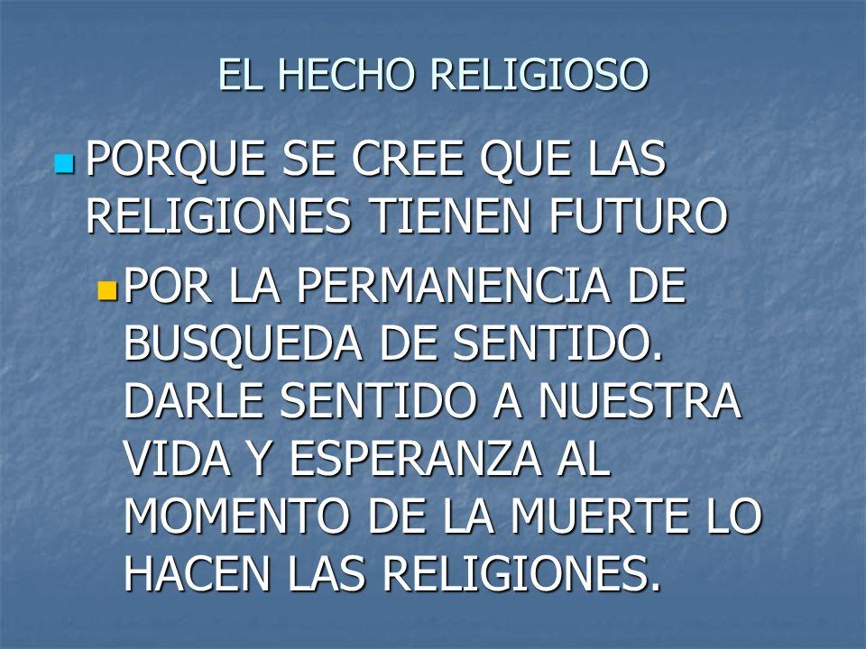 PORQUE SE CREE QUE LAS RELIGIONES TIENEN FUTURO