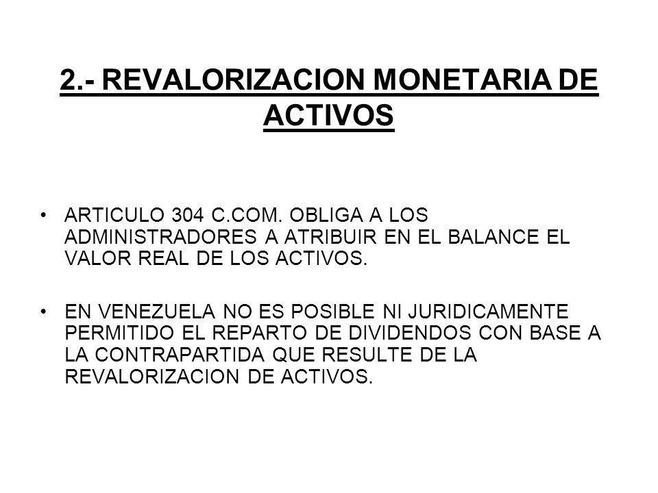 2.- REVALORIZACION MONETARIA DE ACTIVOS