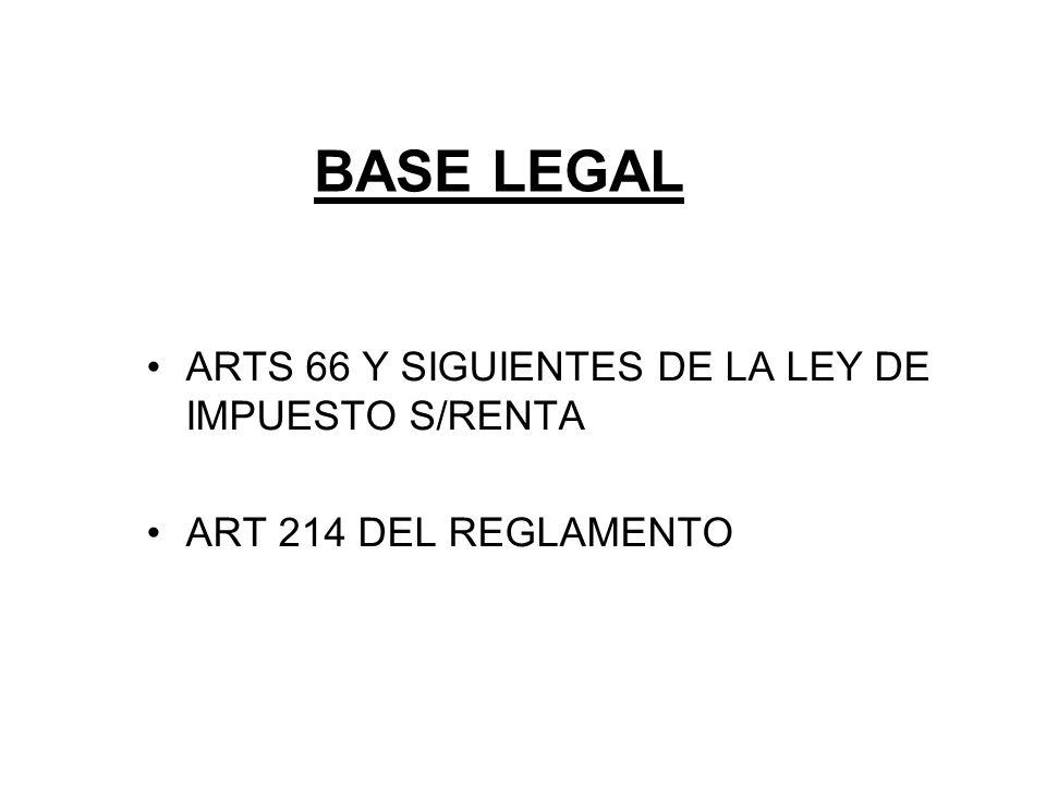 BASE LEGAL ARTS 66 Y SIGUIENTES DE LA LEY DE IMPUESTO S/RENTA