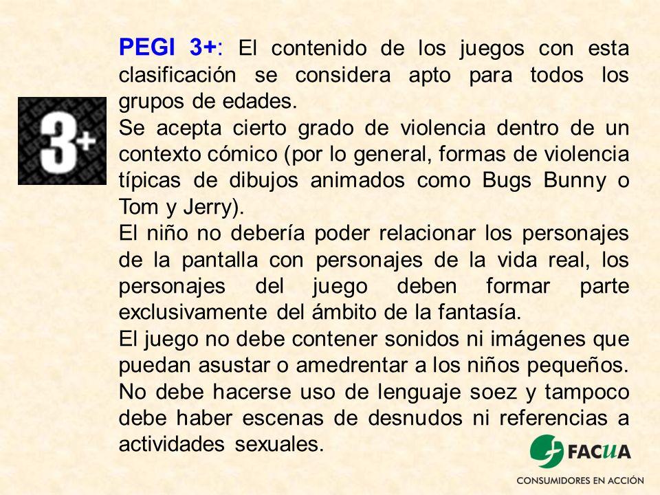 PEGI 3+: El contenido de los juegos con esta clasificación se considera apto para todos los grupos de edades.