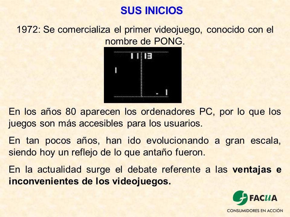 SUS INICIOS 1972: Se comercializa el primer videojuego, conocido con el nombre de PONG.