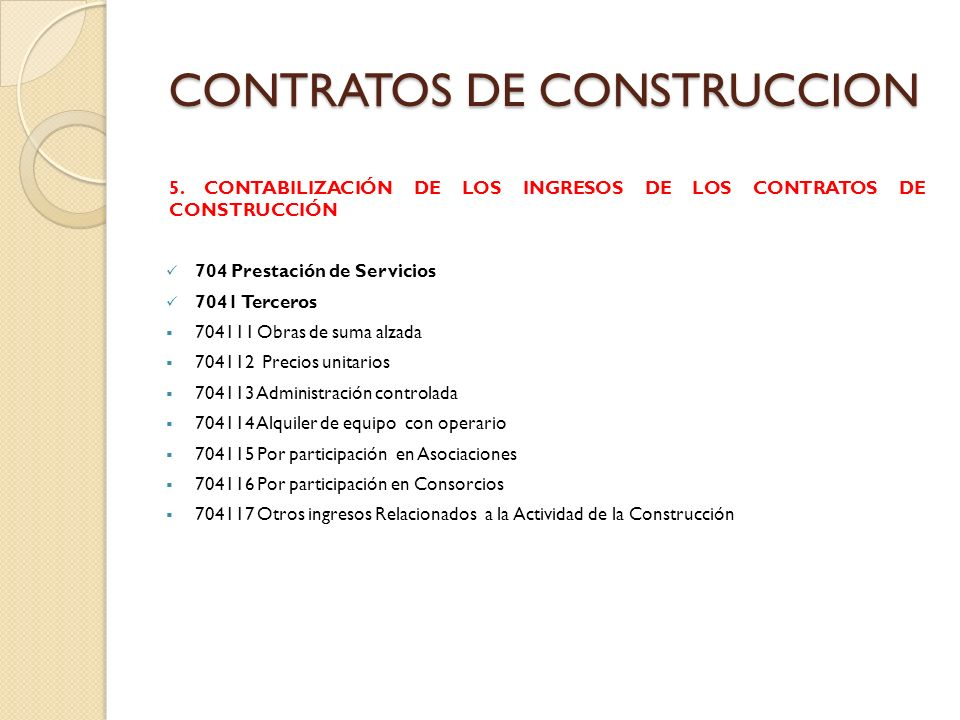 CONTRATOS DE CONSTRUCCION