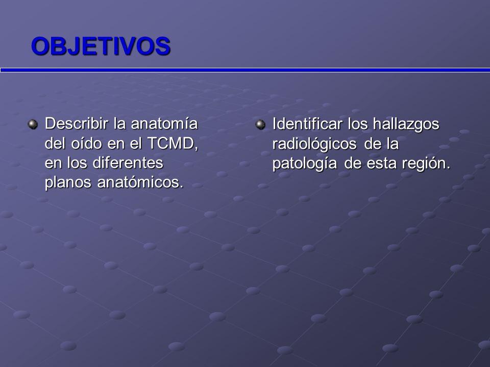 OBJETIVOS Identificar los hallazgos radiológicos de la patología de esta región.